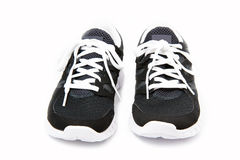 Pair of black and white sports shoes Stock Photography