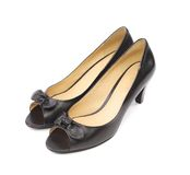Pair of black woman shoes Stock Photo