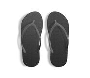 Pair of blank black beach slippers, design mockup, clipping path, Stock Photos