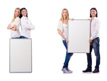 The pair of blank board isolated on white Stock Photos