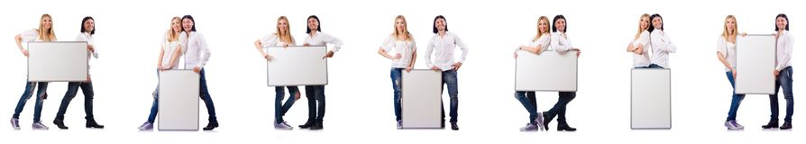 The pair of blank board isolated on white Stock Photo
