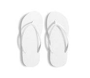 Pair of blank white beach slippers, design mockup, clipping path, Royalty Free Stock Images