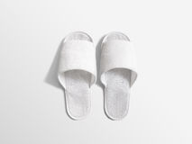 Pair of blank white home slippers, design mockup Royalty Free Stock Photos