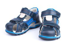 Pair of blue baby sandals shoes isolated on white background Stock Image