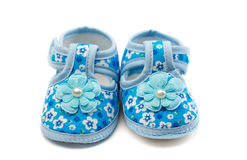 Pair of blue baby shoes. Stock Photography