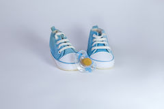 Pair of blue baby shoes standing on white background Royalty Free Stock Photo