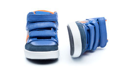 Pair of blue children sneakers Stock Photo