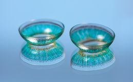 A pair of blue contact lenses Stock Images