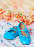 Pair of blue dancing shoes Royalty Free Stock Images