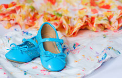 Pair of blue dancing shoes Stock Photography