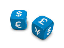 Pair of blue dice with currency sign. Pair of blue dice with dollar euro yen pound sign isolated on white background Royalty Free Stock Photos