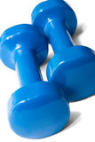 Pair of blue dumbbells Royalty Free Stock Photo