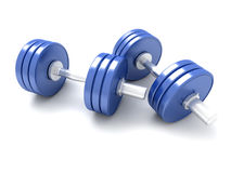 Pair of blue dumbbells Royalty Free Stock Photography