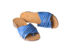 Pair of blue females slippers Royalty Free Stock Photography