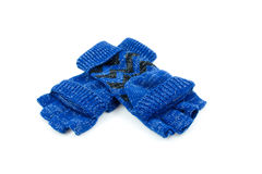 Pair of blue finger free gloves Royalty Free Stock Image