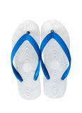 Pair of blue flip flops. Isolated on white background with copy Stock Photography