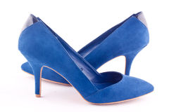 A pair of blue high heel shoes Royalty Free Stock Photos