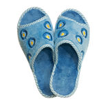 Pair of blue home slippers Stock Image