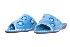 Pair of blue home slippers Royalty Free Stock Images