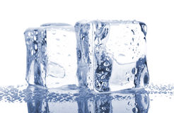 Pair of blue ice cubes Stock Photo