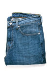 Pair of blue jeans. White isolated Stock Photography
