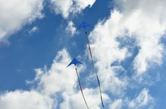 Pair of blue kites Royalty Free Stock Images