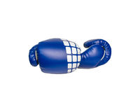 Pair of blue leather boxing gloves isolated on white Stock Photo