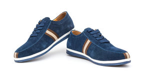 Pair of blue leisure shoes for man on white Stock Image