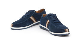 Pair of blue leisure shoes for man on white Royalty Free Stock Image