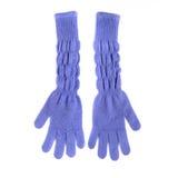 Pair of blue long woolen gloves Stock Photos