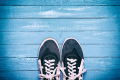 Pair of blue male shoes Stock Photo