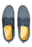 Pair of blue male shoes Stock Images