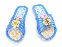 Pair of blue massage sandal Royalty Free Stock Photos