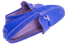 Pair of blue men shoes over white. Background Royalty Free Stock Photo
