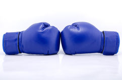 Pair of blue protective boxing gloves Stock Photography
