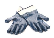 Pair of blue rubber gloves. Stock Image