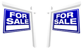 Pair of Blue For Sale Real Estate Signs. In Perspective royalty free illustration