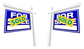 Pair of Blue For Sale Real Estate Signs. With Sold in Perspective royalty free illustration