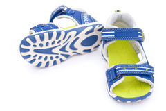 Pair of blue sandals for kid Stock Image