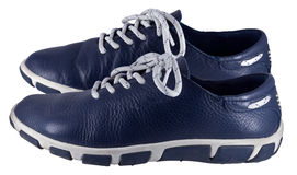 Pair of blue shoes isolated on a white Royalty Free Stock Image