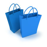 Pair of blue shopping bags Royalty Free Stock Photo