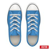 Pair of blue simple sneakers. Realistic Vector Stock Images