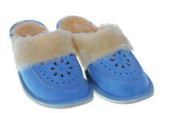 Pair of blue slippers Stock Image