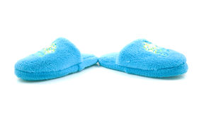 Pair of blue slippers for children Stock Photos