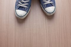 Pair of blue sneakers Royalty Free Stock Photos