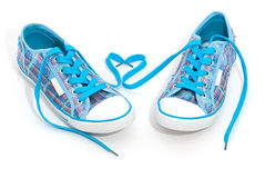 Pair of blue sneakers Stock Photography