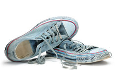 Pair of blue sneakers isolated on white background Stock Photos