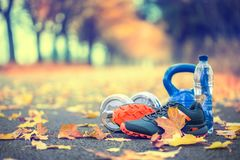 Pair of blue sport shoes water and  dumbbells laid on a path in a tree autumn alley with maple leaves -  accessories for run exerc. Ise or workout activity Royalty Free Stock Images