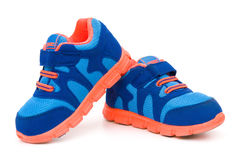 Pair of blue sporty shoes Stock Photo