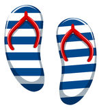 Pair of blue striped sandals Stock Photo